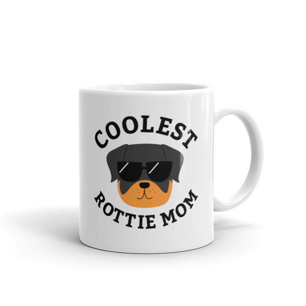 Coolest Rottie Mom Coffee and Tea White Glossy Mug for Rottweiler Dog Mothers