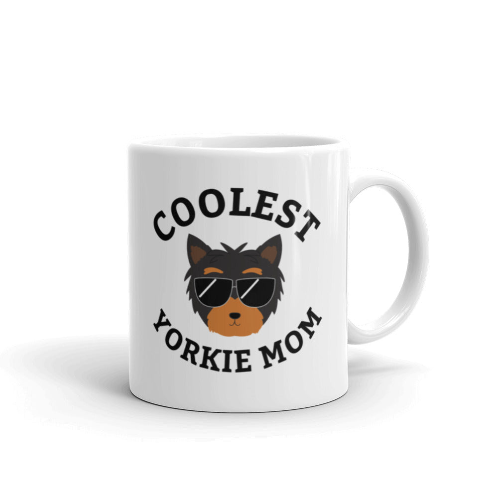 Coolest Yorkie Mom Coffee and Tea White Glossy Mug for Yorkshire Terrier Mothers