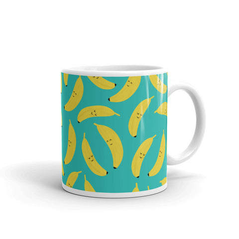 Happy Bananas Coffee and Tea White Glossy Mug