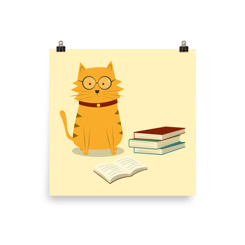 Nerdy Cat Art Print