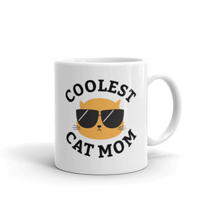 Coolest Cat Mom Coffee and Tea White Glossy Mug for Cat Mothers