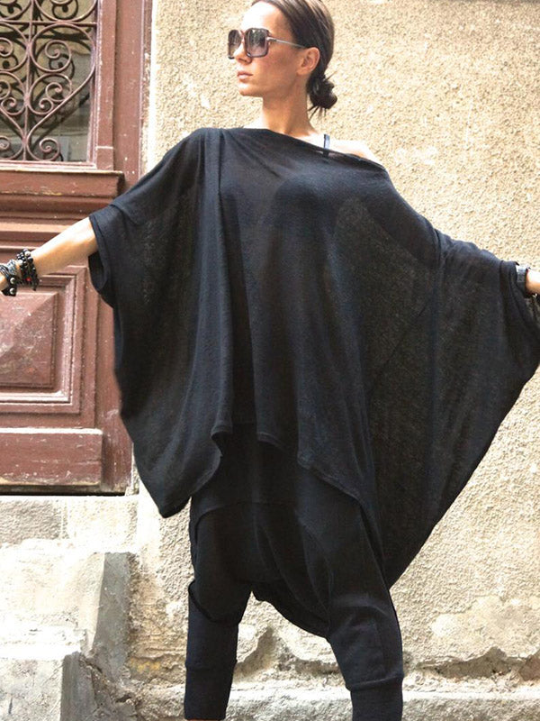 Loose Black Batwing Sleeves High-low T-shirt Tops