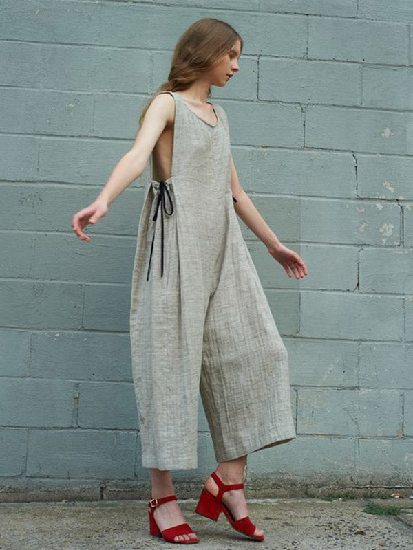 Lace-up Round-neck Sleeveless Wide Leg Jumpsuits