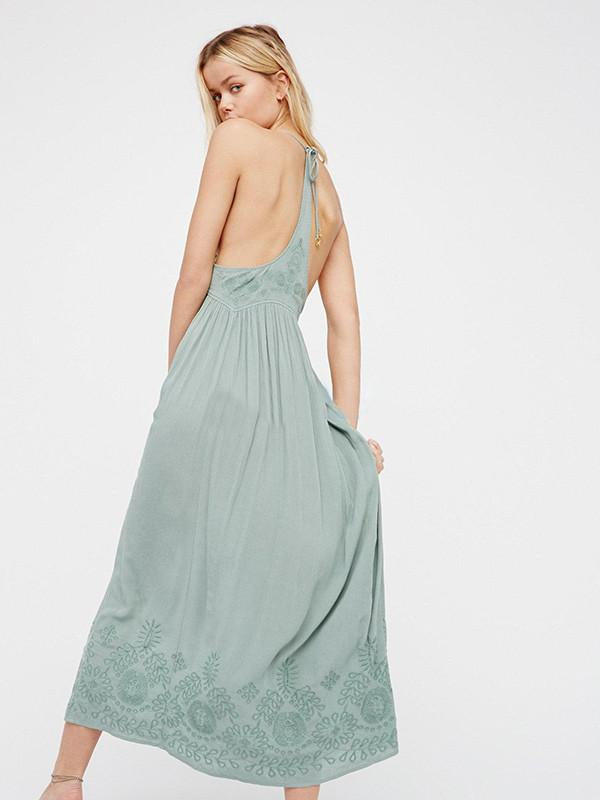 Inwrought Backless V Neck Maxi Dress