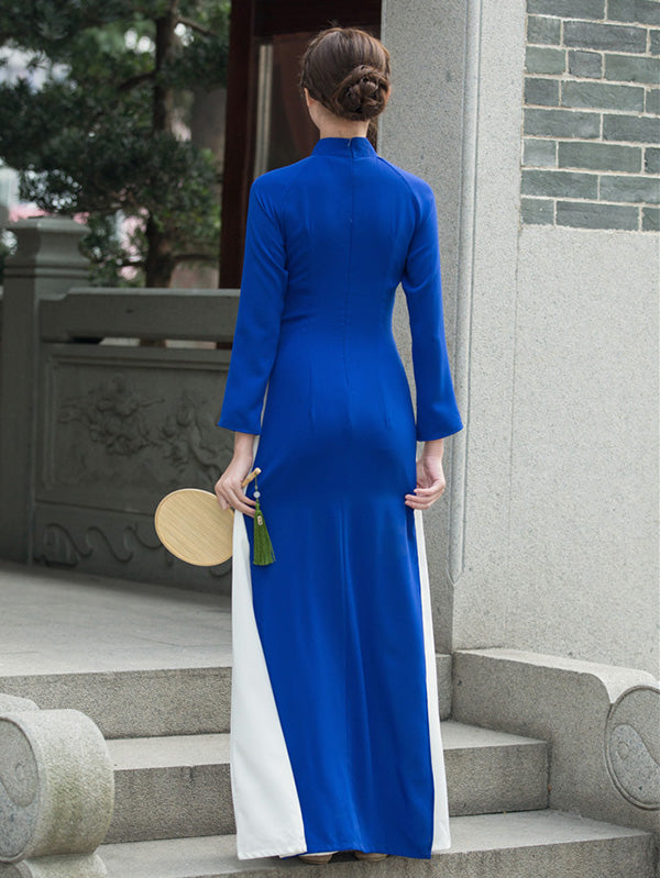 Tradition Blue Long Cheongsam Ao Dai