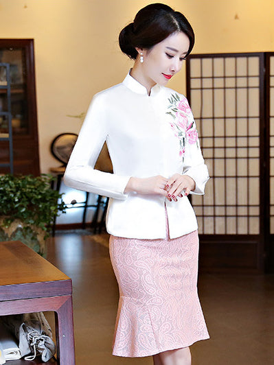 Pink&White Embroidered Cheongsam Tops