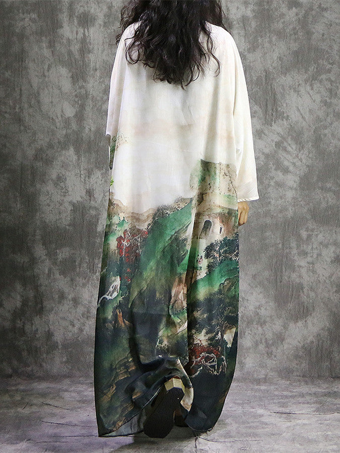 Loose Silk&Ramie Mixed Fabrics Printed Long Dress