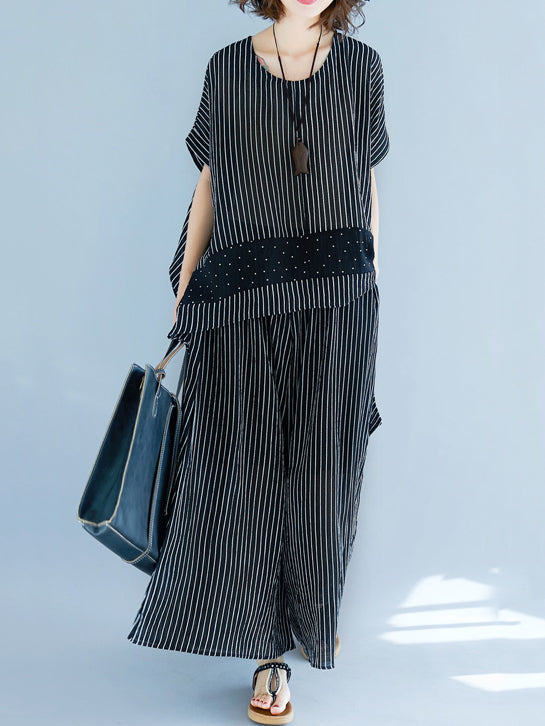 Super Loose Comfotable Striped Suit
