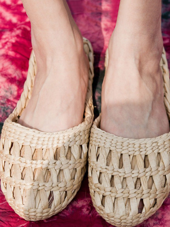 Pure natural manual Straw Slipper