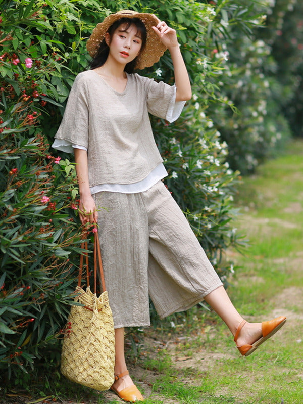Ramie Cotton V-neck T-shirt&Pants Suits