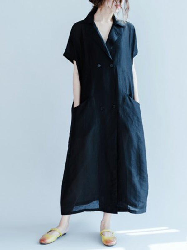Simple Navy Blue Lapel Long Dress