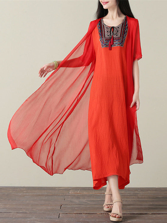 Red&Orange Embroidered Ramie Cotton Dress
