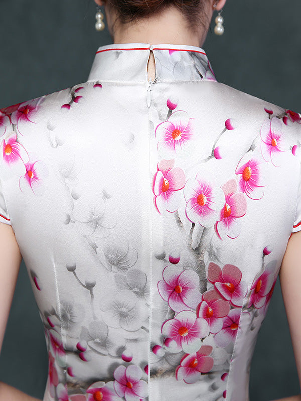 White Plum Blossom Short Cheongsam Dress