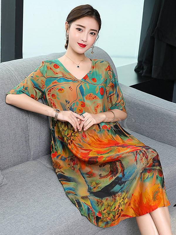 Casual Colorful Silk Long Dress