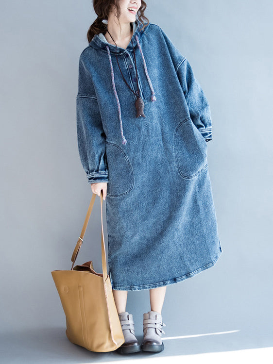 Casual Pocket Jeans Long Dress