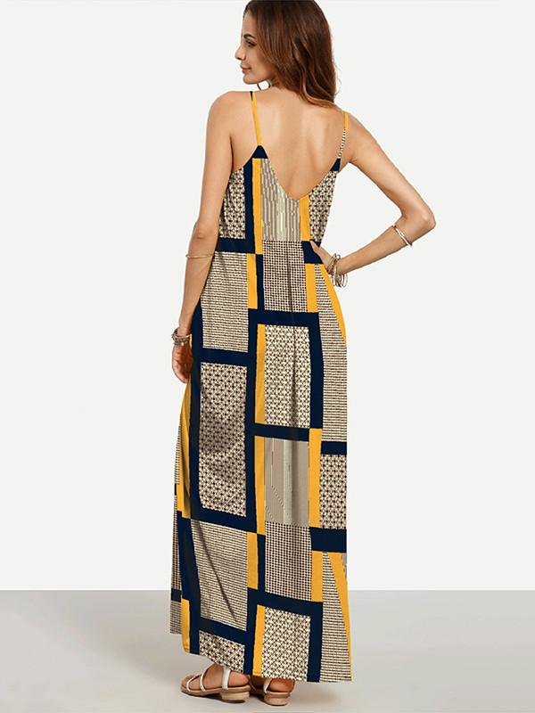 Yellow Plaid Spaghetti-neck Maxi Dress