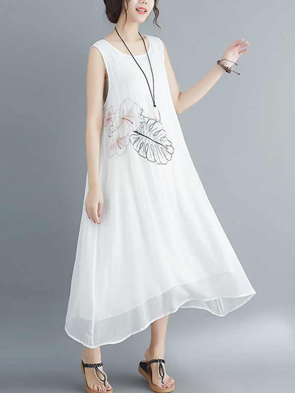 Loose Embroidered Sleeveless Dress