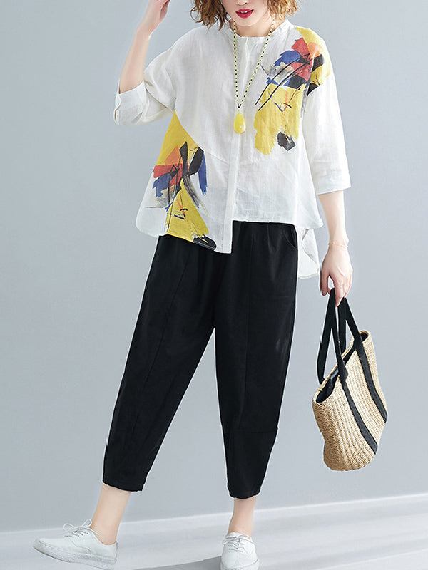 Oversize Printed Shirt + Solid Wide Leg Pants