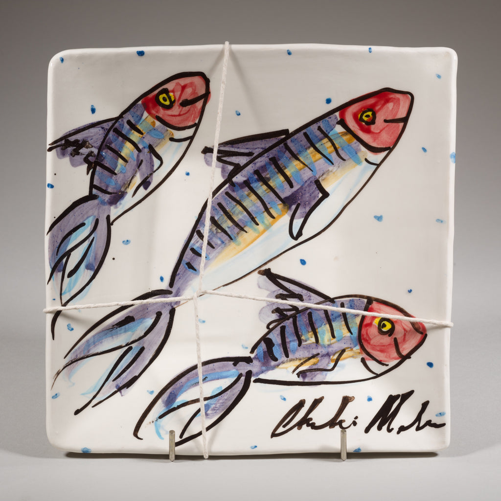 'Mackerel' Square Platter - medium - Charlie Mahon Pottery