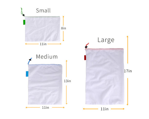 Reusable Produce Bags 15 Pieces Grocery Mesh Bags with Drawstring