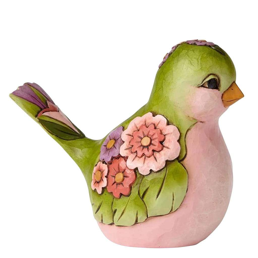 Heartwood Creek by Jim Shore Green Flower Bird Figurine - Website Exclusive