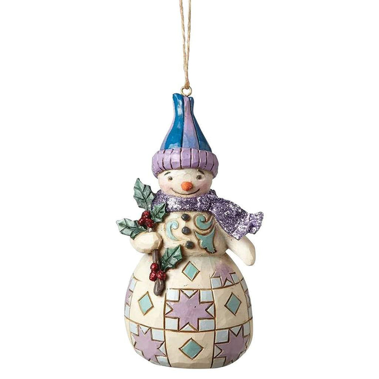 Heartwood Creek by Jim Shore Woodland Snowman with Holly (Hanging Ornament) - Website Exclusive