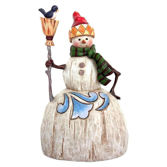 Heartwood Creek by Jim Shore Folklore Snowman with Broom Figurine - Website Exclusive