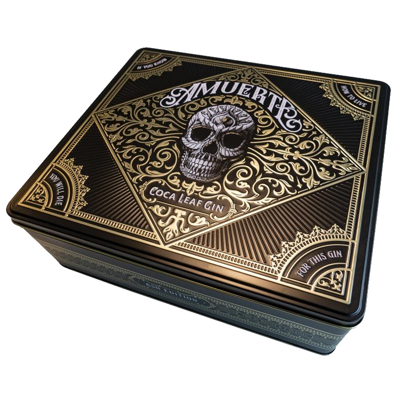 Amuerte Coca Leaf Gin Box Black whith 2 glass