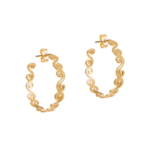 Gold swirly hoop earrings elegant creole