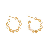 Small swirl gold circle hoop earrings