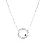 Silver swirly infinity circle necklace with sapphire