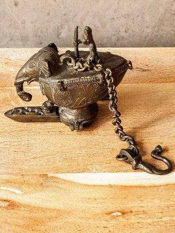 Brass Elephant Oil Lamp from India