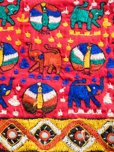 Red Embroidered Bedcover with Elephants 3