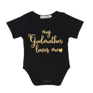 """My Godmother loves me"" Baby Bodysuit Black Short Sleeves and Gold"