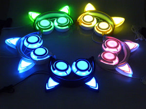 Cat Ear headphones LED Flashing Glowing Headset Adult and Children