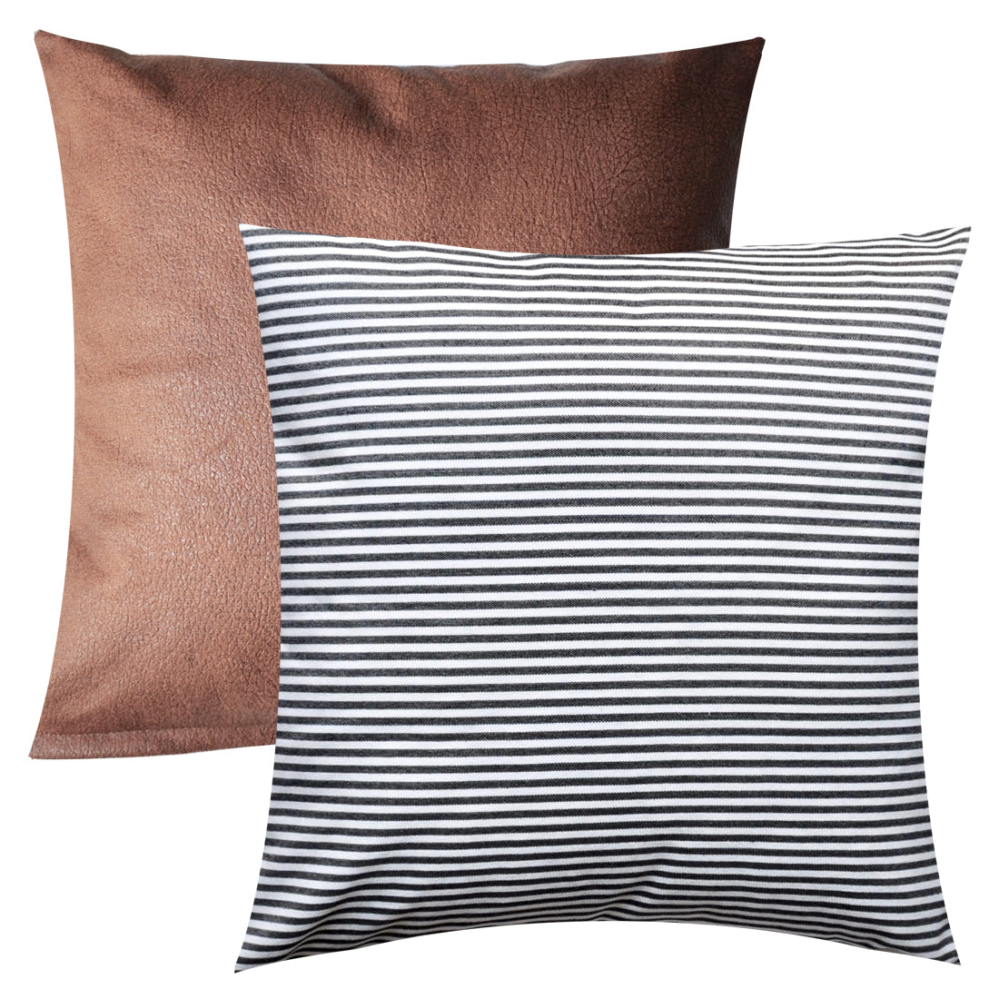 PANDICORN Set of 2 Farmhouse Decorative Throw Pillow Covers, Rustic Black and White Striped Throw Pillows Case, Brown Faux Leather Textured Cushion Cover for Couch Sofa, 18 x 18 Inch