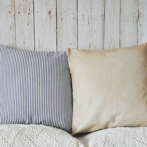 PANDICORN Set of 2 Modern Farmhouse Decorative Throw Pillow Covers, Rustic Blue Striped Throw Pillows Case, Khaki Faux Leather Textured Cushion Cover for Couch Sofa, 18 x 18 Inch