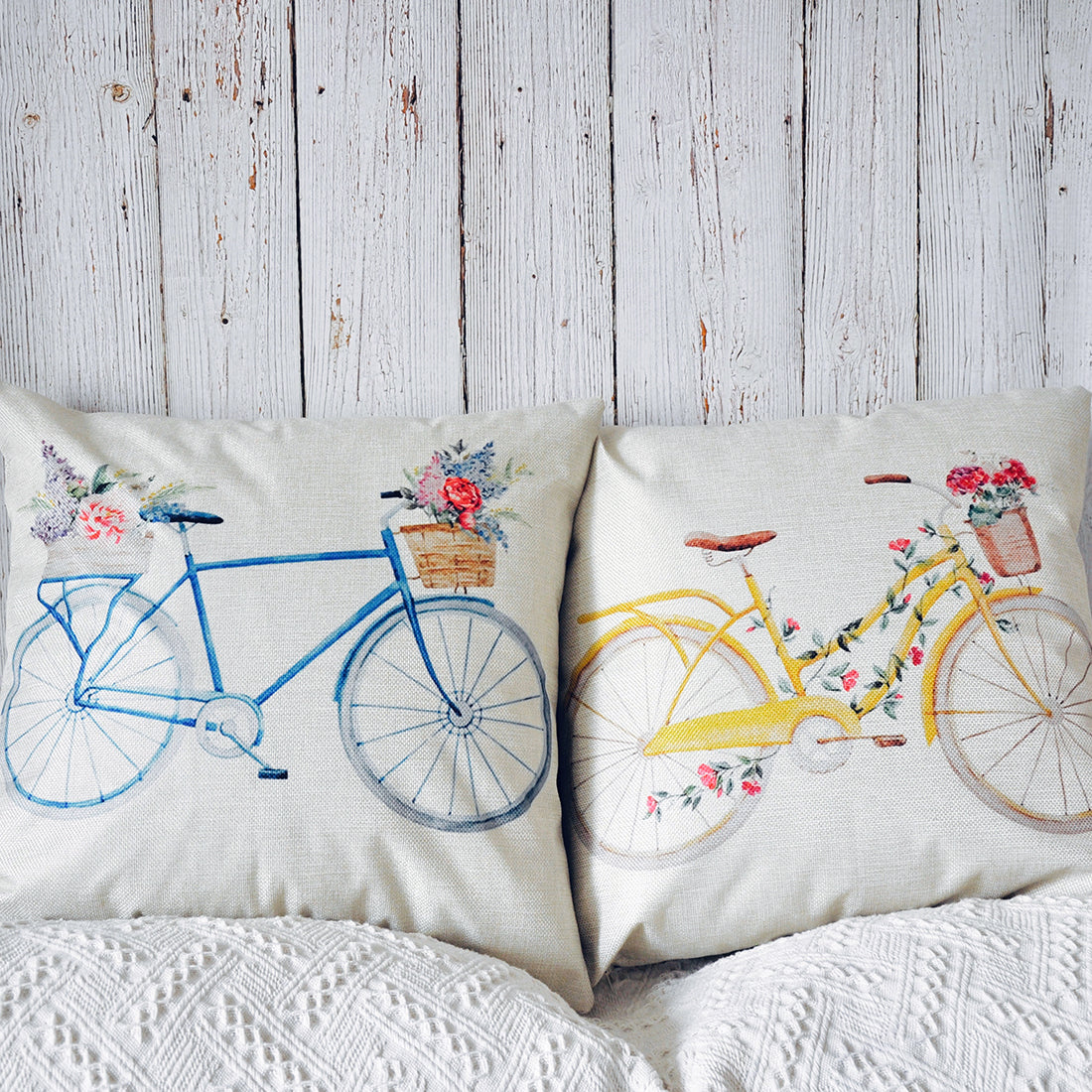 PANDICORN Set of 2 Spring Farmhouse Decorative Throw Pillows Covers, Rustic Yellow Blue Bicycle Throw Pillow Cases with Colorful Floral Pattern for Outdoor Couch Porch, 18 x 18 Inch