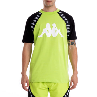 Kappa 222 Banda Bardi Green Lime Black White T-Shirt