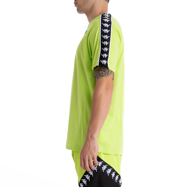 Kappa 222 Banda Neoc Up & Down  Green Lime Black White T-Shirt