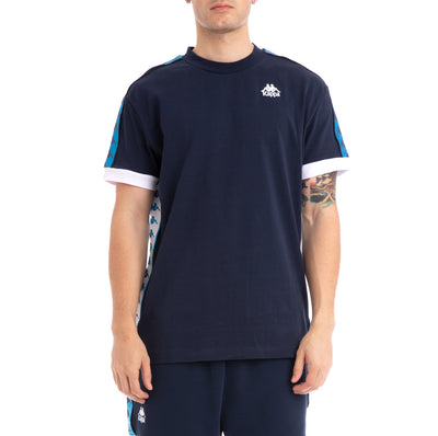 Kappa 222 Banda Bismal Blue Navy White T-Shirt