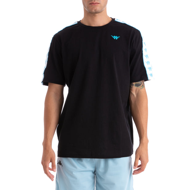Kappa 222 Banda Neoc Up & Down  Black White Turquoise T-Shirt