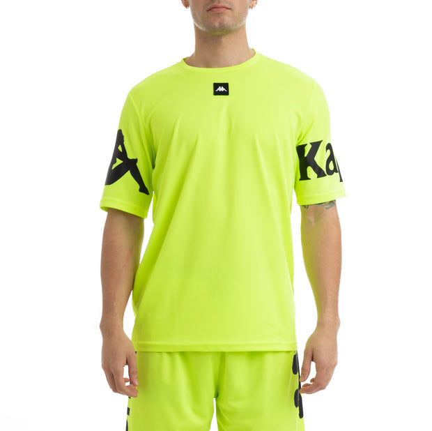 Kappa Kalcio Boloxi Yellow Fluo Black Mesh T-Shirt
