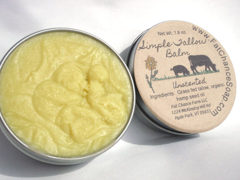 Simple Tallow Balm - Tallow and Hemp Seed Oil, 1.7 oz.