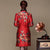 Knee Length Silk & Linen Fur Collar Cheongsam Chinese Dress