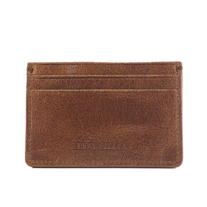 Brown Distressed Full-Grain Leather Card Case