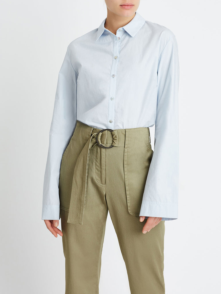FLARED BUTTON DOWN, LIGHT BLUE