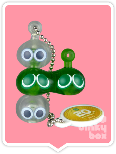 "OPEN GASHAPON BALL Takara Tomy A.R.T.S / Sega 20th Anniversary Puyo Puyo : 1"" Quadruple (Clear/Green) Mascot Charm - moosedinky"