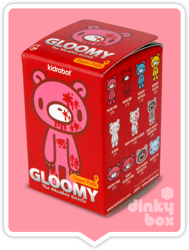 "OPEN BOX Kidrobot Gloomy Bear : 1"" Red Standing Gloomy zipper pull 2/30 (complete with all original packaging) - moosedinky"