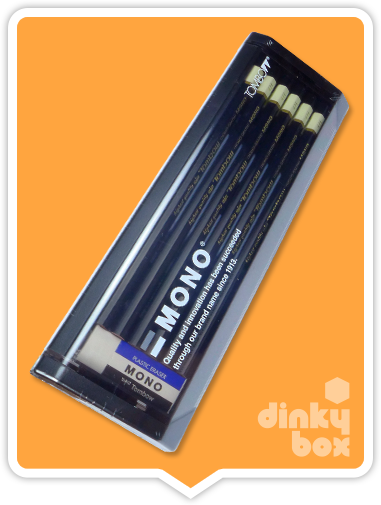 Tombow Graphite Pencils : 12x (yes, twelve) high quality non-braking 6B pencils and a Mono Eraser all in a lovely presentation case - moosedinky